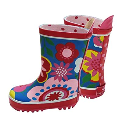 Toby Tiger Girls Blue Multi Flower Wellington Boots with Cotton Linings