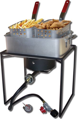King Kooker 1618 16-Inch Propane Outdoor Cooker with Aluminum Pan and 2 Frying Baskets (Propane Fryer Burner compare prices)