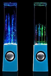 Kocaso Mini USB LED Fountain Light Dancing Water Loud Bass Music Speakers. Great for PC, Macbooks, Laptops, MP3 Players, iPods, iPhone 7, iPads, Samsung Galaxy, HTC, Smart Android Windows Phones (Blue)
