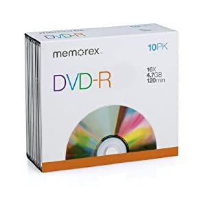 Memorex 4.7Gb/16x DVD-R 10-Pack Slim Case