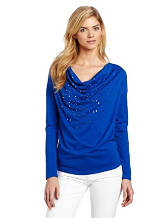 Chaus Women's Confetti Embellished Solid Scoop Neck 3/4 Sleeve Tee, Electric, Small