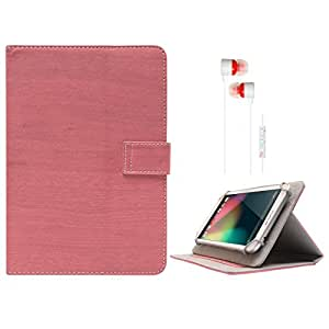 DMG Protective 7in Flip Book Cover Case for Asus Fonepad 7 2014 FE170CG (Pink) + White Stereo Earphone with Mic and Volume Control