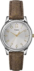 Timex Women's T2P0942M Metallic Brown Leather Strap Watch