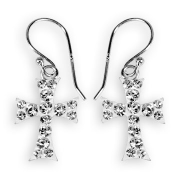Ashley Arthur .925 Silver White Small Dangle Cross Earrings Made with Swarovski Elements