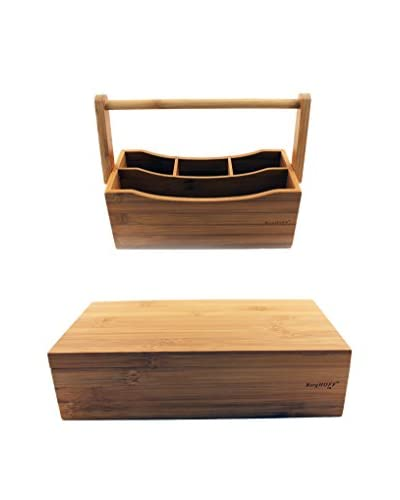 BergHOFF 2-Piece Bamboo Tea Box & Utensil Holder Set