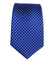 100% Silk Woven Pindot Royal Blue Skinny Tie