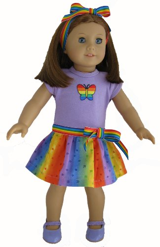 SomeWEAR Over the Raindow This Lavender Top with Butterfly Applique and Rainbow Patterned Dress Will Thrill the American Girl Doll Owner. Lavender Shoes Included. Fun Dress Fits the 18