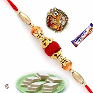 Red Cotton Ball Mauli Rakhi With Golden Beads