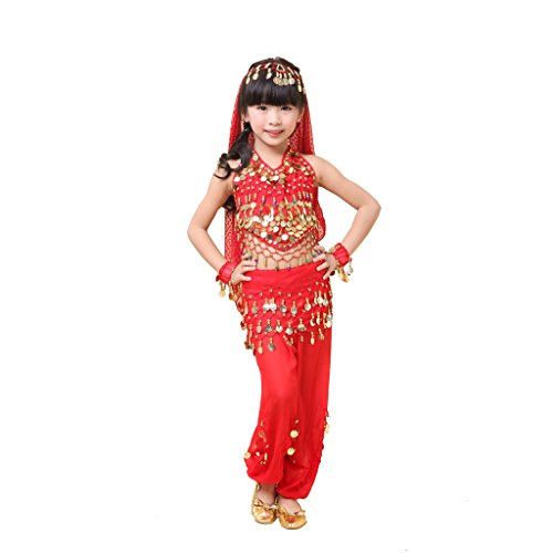 Pilot-trade Kid's Belly Dance Costume Harem Pants Hip scarf Top Veil Sets