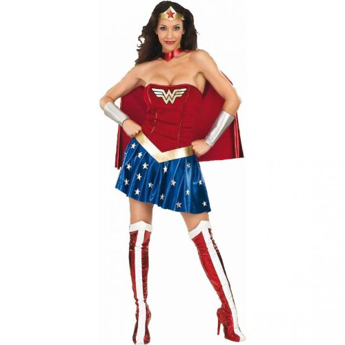 Dc Comics Secret Wishes Deluxe Wonder Woman Costume, Blue/Red, Medium (6 -10) front-915374