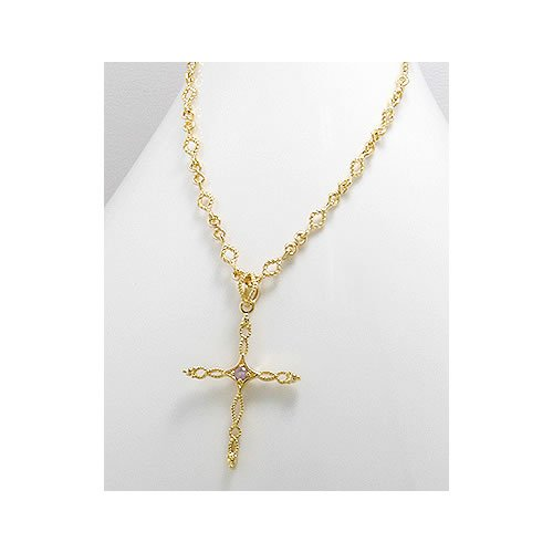 Jewelry Locker 14k Gold Plated Cross Pendant Necklace