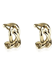 M&S Collection Gold Plated Criss-Cross Hoop Earrings