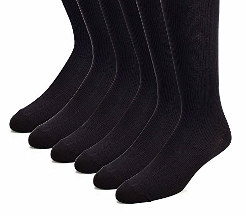 The Right Fit Novelty Men's Long Cotton Ribbed Over-the-Calf Tube Cushion Socks: AKA Novelty Athletic Knee High Socks for Athletes and Sports Players, Black, 6 Pack, 9-11