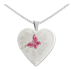 Sterling Silver Butterfly Heart Locket Pendant Necklace, 18