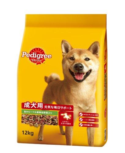 ペディグリー ドライ 成犬用 元気な毎日サポート 旨みビーフ&緑黄色野菜入り 12kg