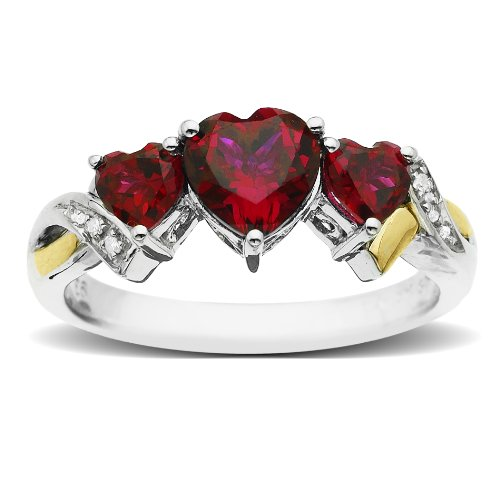 Sterling Silver and 14k Yellow Gold Diamond and Heart-Shaped Created Ruby Ring (0.01cttw, I-J Color, I3 Clarity), Size 8