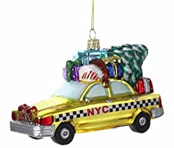 Pack of 6 Checkered New York City Taxi Cab Glass Christmas Ornaments 5.25""