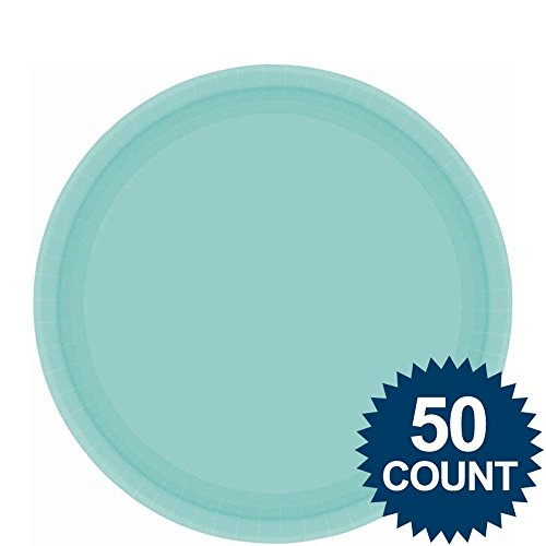 Amscan AMI 650013.121 Amscan Robbins Egg Blue Big Party Pack Dinner Plates (50 Count), 1, blue - 1