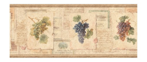 York Wallcoverings Europa Ii Grape Collage Prepasted Border, Tan/Peach/Brown/Olive Green front-364859