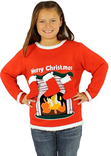 Children's Fireplace Sweater with 3-D Stockings in Red - Ugly Christmas Sweater ((8-20) Small) By Festified