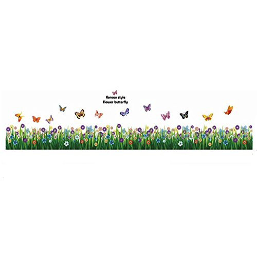 MING Butterflies & Flowering Shrubs Wall Stickers Decal for Sitting Room Living Room Bedroom Coffee Shop Skirting Line Baseboard Decoration