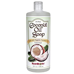 Nutribiotic Pure Coconut Oil Soap, Unscented, 32 Fluid Ounce
