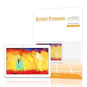 Galaxy Note 10.1 and Tab Pro 10.1 Screen Protector, amFilm® Premium HD Clear Screen Protectors for Samsung Galaxy Note 10.1 (2014 Edition) and Galaxy Tab Pro 10.1 with Lifetime Warranty (2-Pack) [in Retail Packaging]