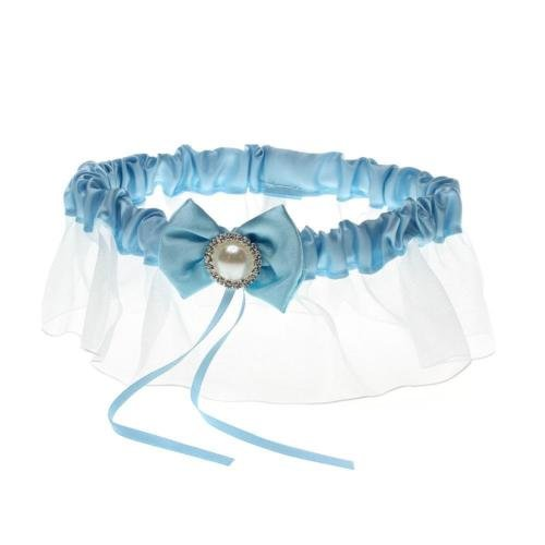 DatConShop(TM) Ladies Wedding Bridal Garters Satin Lace Bowknot Pearl Ruffles Blue Chic