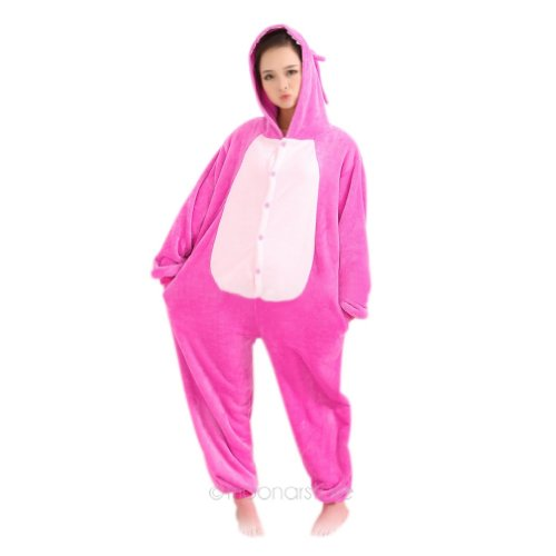 Winter Pink Koala Pajamas Cosplay Costume Footed Sleepwear For Women Men