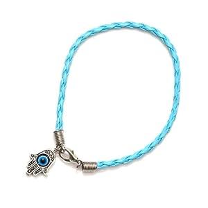 Blue Hamsa Evil Eye Bracelet Hand of Miriam Nazar Friendship Braided Judaica Amulet Karma Fashion Jewelry