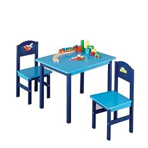 Zeller 13472 Boys - Juego de muebles infantiles de tablero DM (3 piezas; mesa: 60 x 48 x 45 cm, sillas: 28 x 26 x 54 cm)