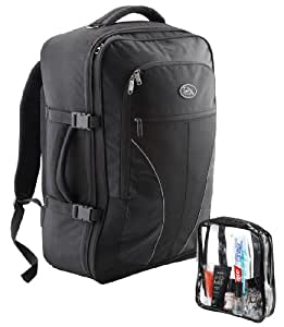 Cabin Max Palermo Carry-on hand luggage backpack with Detachable Toiletry Bag 44 litres 55x40x20cm (Black)