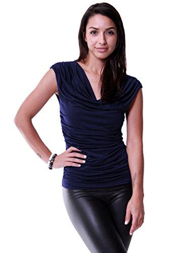 LeggingsQueen Women's Cowl Neck Sleeveless Modal Top (Navy, X-Large)