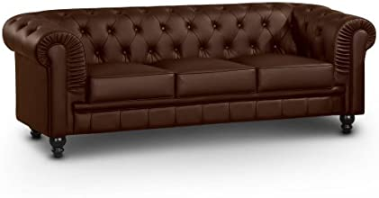 Menzzo A6053 Contemporain Canapé 3 Places Bois Marron 80 x 207 x 72 cm