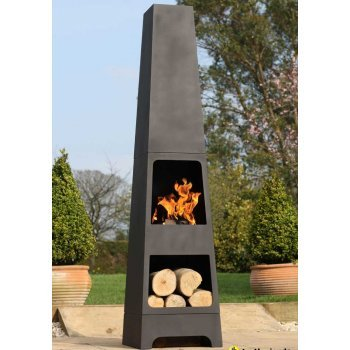 Chimenea with log store in Black OGD23