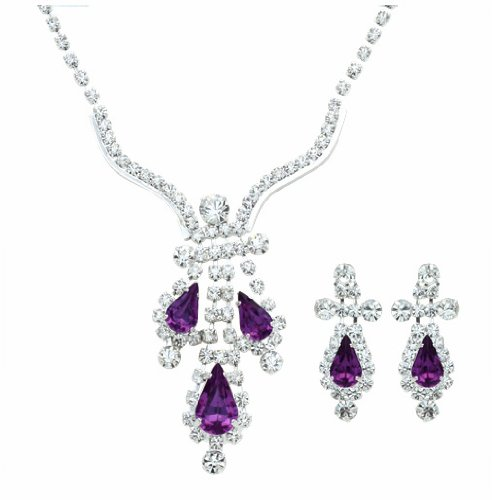 Eggplant Purple Crystal Necklace & Earring Set - Purple Bridesmaid / Prom Jewelry Choker