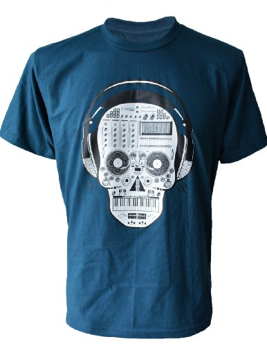 SODAtees cool Club Pary DJ SKULL turntable mixer headphones Men's T-SHIRT - Petrol - Large