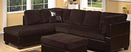 2 pc Connell collection two tone chocolate corduroy and espresso leather like vinyl sectional sofa