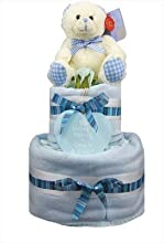 New Blue 2 tier 39Don39t Panic39 nappy cake  gift - baby boy shower present by little tiddlywinks