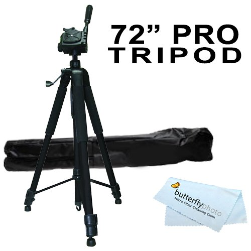 Professional Pro 72 Super Strong Tripod With Deluxe Soft Carrying Case For The Canon Vixia Hf S10, Hf S100, Hf200, Hf20, Hf11, Hf100, Hf10, Hg21, Hg20 Flash Memory Camcorders + Bp Microfiber Cleaning Cloth