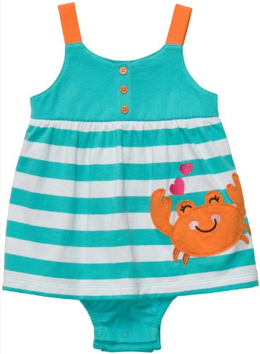 Carters Girls 12-24 Months Crab Stripe Sunsuit (3M, Multi)