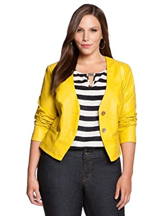 eloquii Faux Leather Blazer Women's Plus Size Yellow 24W