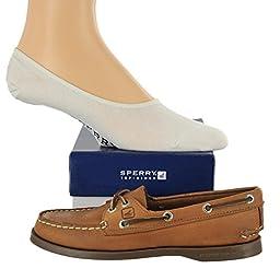 Sperry Women\'s Authentic Original Shoe with FREE No Show socks Bundle Sahara size 9M (US)