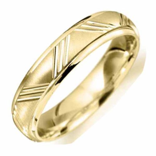 9ct Yellow Gold Flat Wedding Band Width 5mm