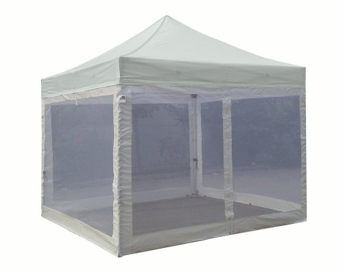 Eurmax Standard 10X10 Ez Pop Up Canopy With Four (4) Screen Walls And Wheeled Bag Bonus Awning (Gray) front-989781