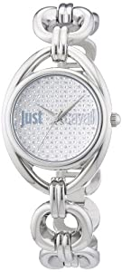 Just Cavalli Women's R7253182502 Drop Stainless Steel Chain Bracelet Pave Swarovski Crystal Dial Watch