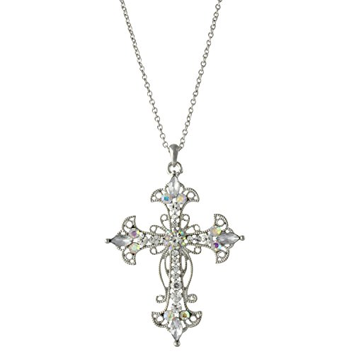 Large Antique Silver Tone Aurora Borealis Crystal Cross Pendant Necklace