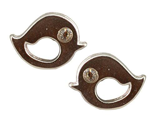 AppleLatte Earrings, Lightweight Silver Plated Twitter Bird Stud Earrings with Clear Crystal