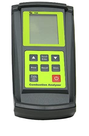 TPI 708C5 Combustion Efficiency Analyzer with Digital Clamp-On, 3 x 1.5V AA Alkaline Batteries, Backlit LCD Display, 14 to 122 Degree F