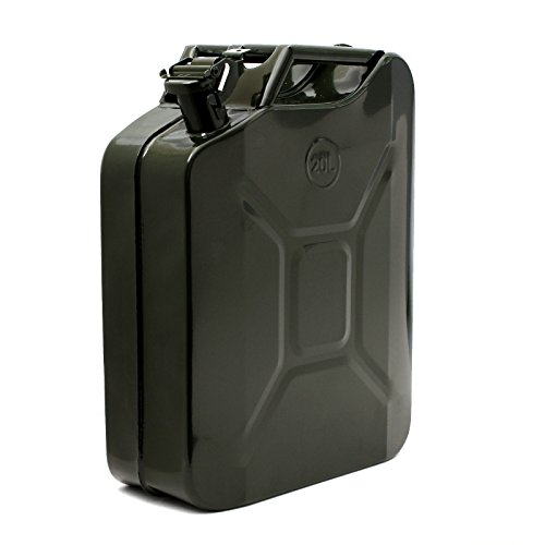 Smart-Home 20L 5 Gallon Steel Gas Fuel Tank NATO Style Jerry Can With Nozzle Spout & Petrol Tight [Military Green, 18.5